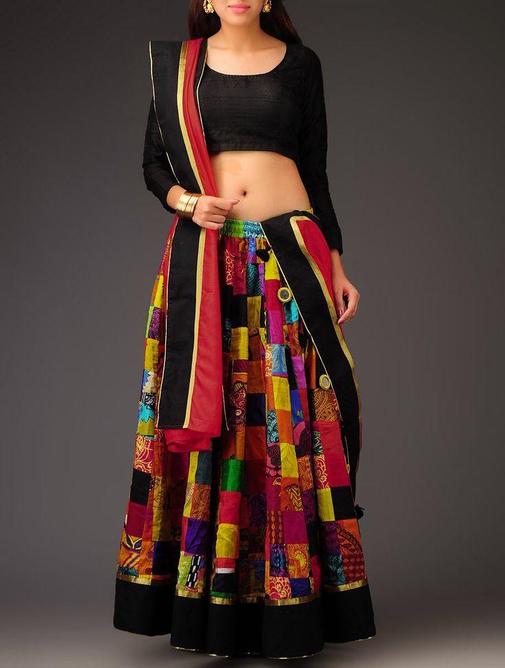 Buy Red Multi Color Patchwork & Mirror Work Half Saree Set Cotton Sarees Printed Boheme Symphony Colorful Skirts Blouses and Dupattas Online at Jaypore.com