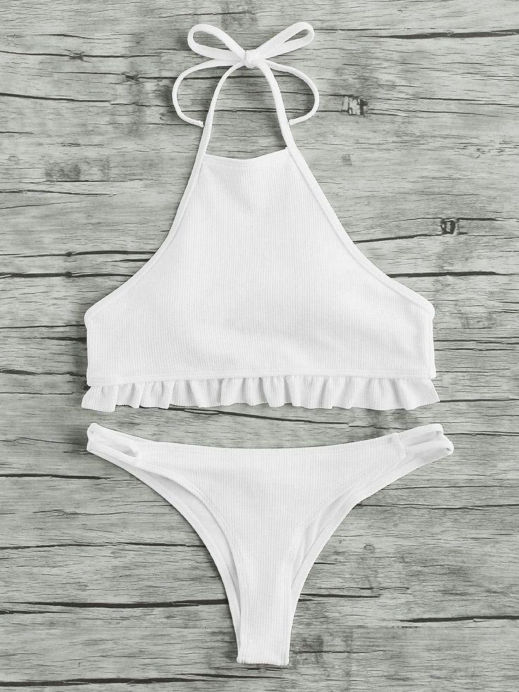 Shop Ruffle Hem Ribbed Halter Bikini Set online. SheIn offers Ruffle Hem Ribbed Halter Bikini Set & more to fit your fashionable needs.
