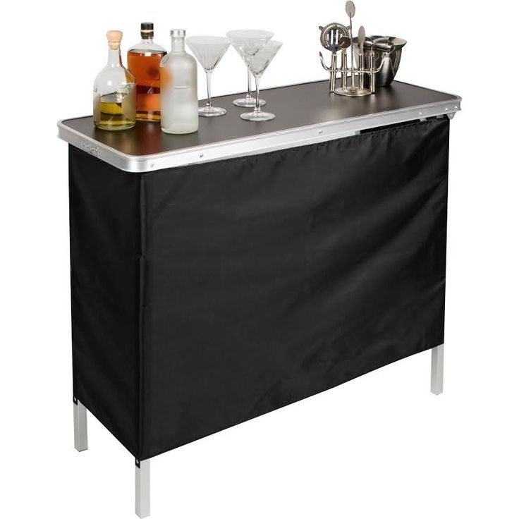 Trademark Innovations Portable Bar Table with 2 Skirts Included (Portable Bar Table), Black