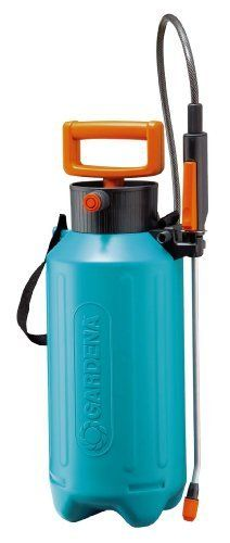 Gardena 822-U 1.3-Gallon Pressure Sprayer by Gardena. $78.84. Quality product with a quality brand name. Includes shoulder straps. For outdoor use. 1.3-Gallon capacity. Ergonomic D handle for comfortable pumping. Trigger with on off lock. With safety valve and level indicator. Angle nozzle fully adjustable from hard jet to fine mist