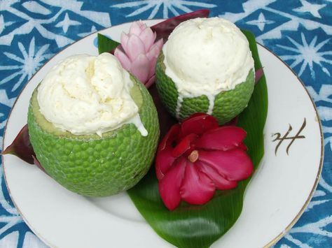 A simple, delicious recipe for breadfruit ice cream!  Created by Danny Baker, 2004 Kahanu Garden 'Ulu Cookoff  2nd Place Winner  2 ½ cups heavy cream ¾ cup sugar 1 cup firm, mature breadfruit, baked and grated 1 tsp egg yolk, beaten  Add all ingredients to ice cream maker for 25-30 minutes. Then place in freezer. Serve when frozen to desired consistency.  For more recipes: http://ntbg.org/breadfruit/resources/display/cat/7/  Photo © Jim Wiseman