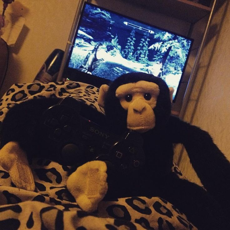 My girlfriend bought me a new #monkey. #lovingit  #Monkeys #Plushies #plushie #toy #toys #cute #cuteness #gamers #gaming #gamergirls #gamergirl #instagaming #instafun #ape #ps3 #playstation #playstation3 #skyrim #atm #videogames #toystagram #monkeyplushie #toys4life