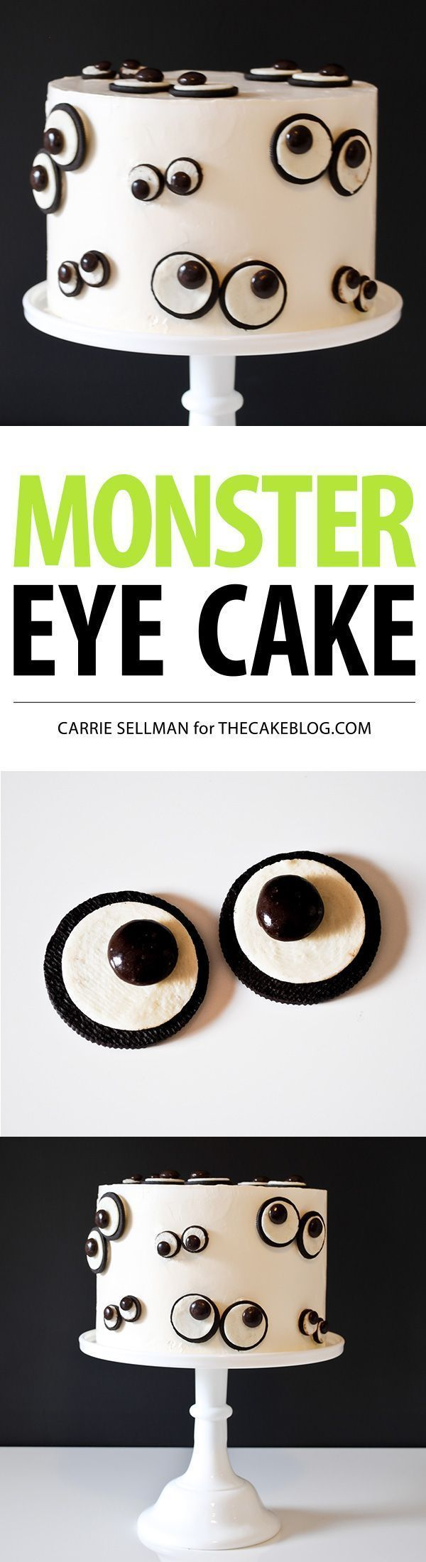 Take your favorite cake recipe, bake it, then decorate it with monster googly eyes this #Halloween with this recipe from @thecakeblog. You'll use all the best sweets to make the monster eyes: Frosting Oreo Cookies Mini Oreo Cookies Junior Mints M&M's (Best Desserts Oreo)
