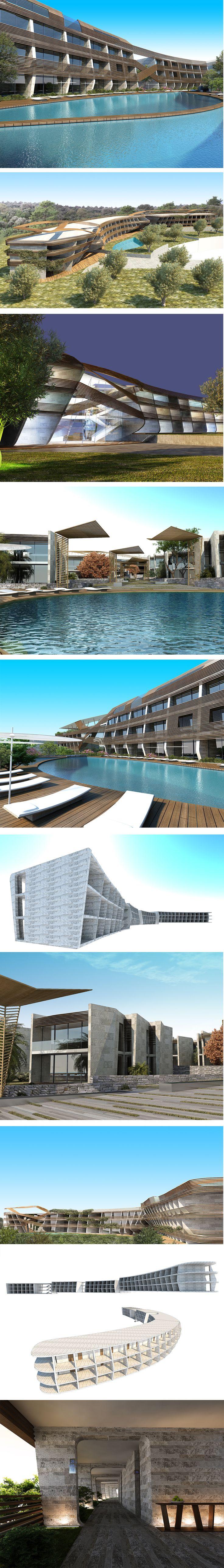 Swissotel Resort Bodrum Beach hotel, a twisting structure, is located on the highest point of the site and serves as the entry gateway to the development.  #hotel #hoteldesign #architecture #architecturaldrawing #GADarchitecture #GAD #interiordesign #turkey #swissotel #turkiye #architect #mimar #mimarlik #pool #plans #villa #bodrum #luxury #largeimage #gokhanavcioglu #gadarchitecture #gadfoundation