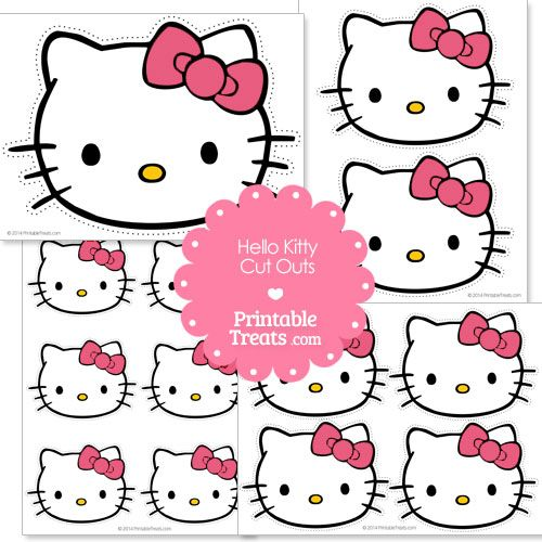 Free Hello Kitty Head Cut Out with Pink Bow from PrintableTreats.com