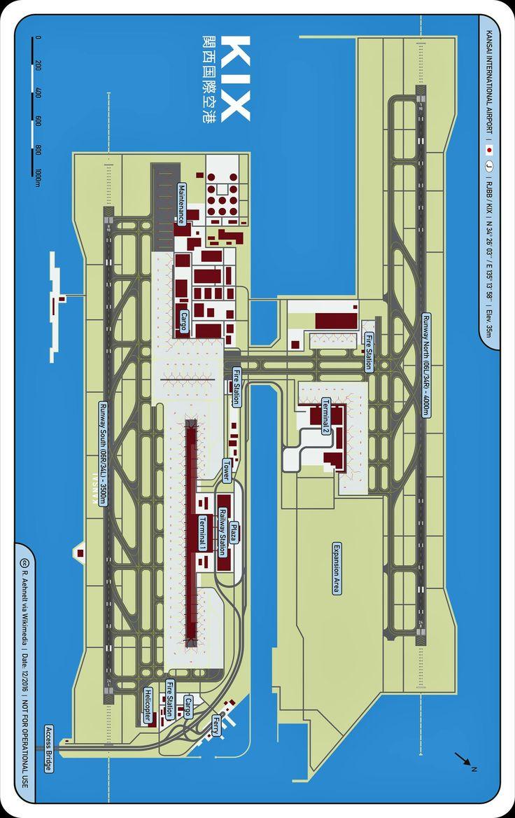 Osaka kansai international airport map cc r aehnelt via wikimedia airports pinterest Airport planning and design course