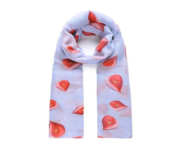 Grey/red flamingo lilly print scarf