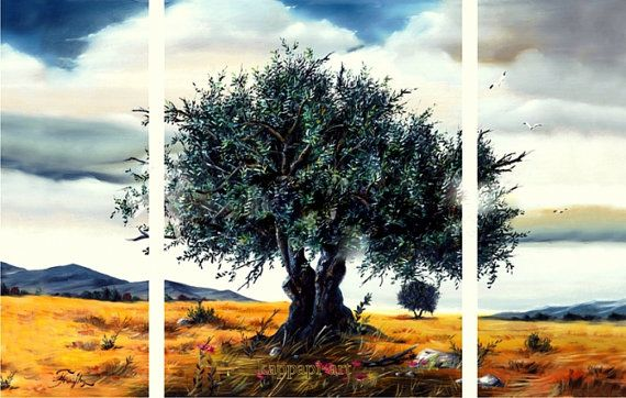 "Landscape oil painting - landscape olive tree -70 x100,   27,6x39,4"" 3 panels"