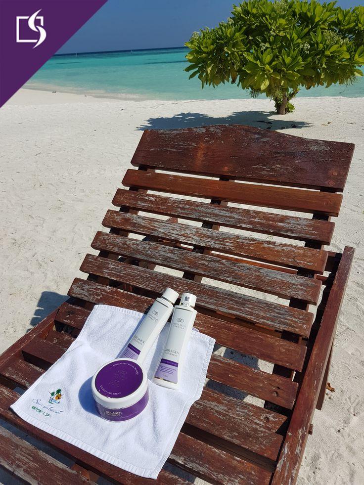 #beauty #beach #cosmetics #palmtree #molo #sea #ocean #snad #skin #view #holidays #collagen #women #sun #sunbathing #holidays #paradise