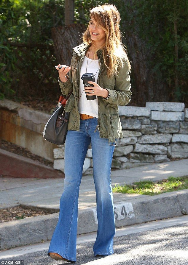 Loving her flares.. casual look