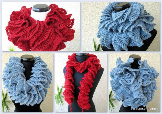 Ruffle Scarf Unique Crochet Pattern, Double Ruffle Crochet Scarf Tutorial Pattern PDF INSTANT DOWNLOAD, Lyubava Crochet Pattern number 65
