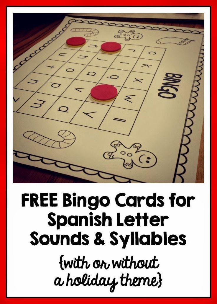 Free Spanish BINGO cards to download - Spanish letter sounds, open syllables, syllables with blends, and closed/inverse syllables {sonidos, sílabas abiertas, sílabas trabadas y sílabas cerradas/inversas}