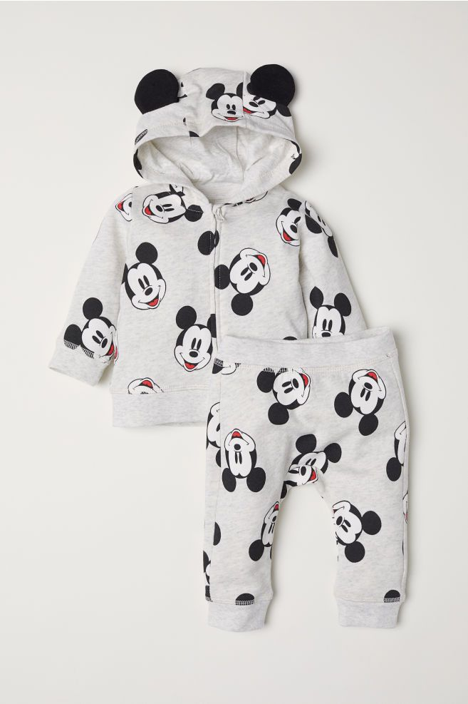 595ef39def048c Hooded Jacket and Pants - Lt gray melange/Mickey Mouse - Kids | H&M US 1  was $11.99 $24.99
