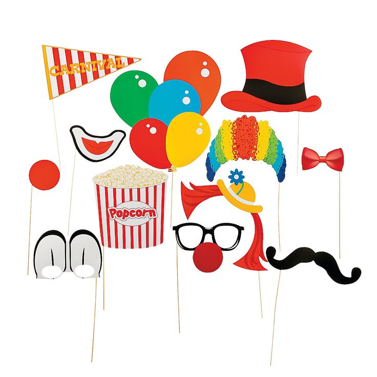 """Carnival Photo Booth Props Each paper decoration comes on a 12"""" wooden stick. 3 1/2"""" - 14 1/2"""" x 2 3/4"""" - 9 3/4"""" © OTC  $7.25"""