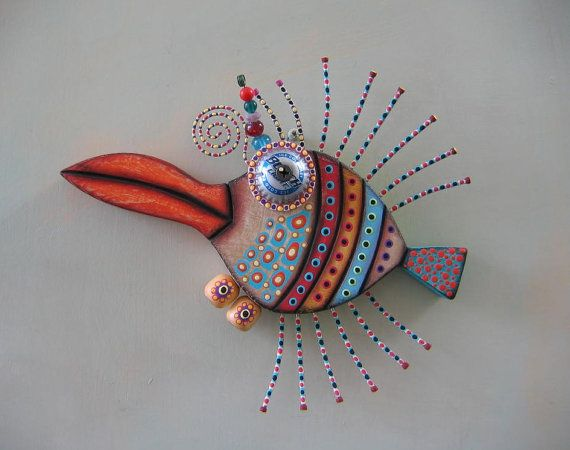 Penguin Fish Original Found Object Wall Art Wood by FigJamStudio, $67.00
