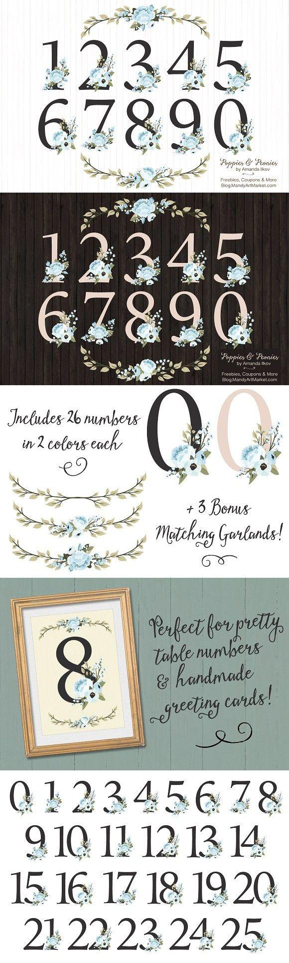 Soft Blue Floral Number Vectors. Wedding Fonts
