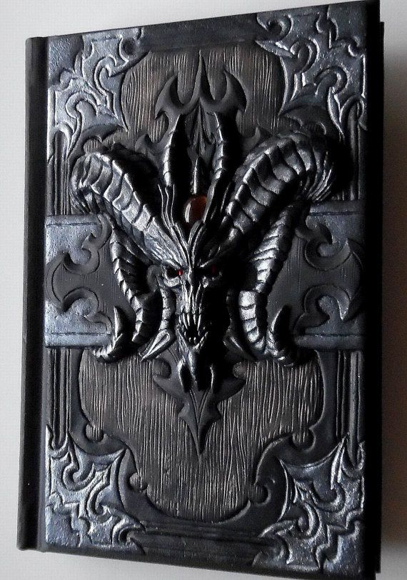 Gothic journal, Polymer clay journal, notebook, diary with polymer clay cover, Diablo Book of Cain, 98 blank sheets
