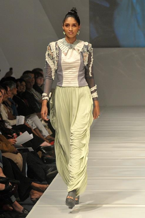draped harem pants with a pintuck top and shrug with ripped fabric detail