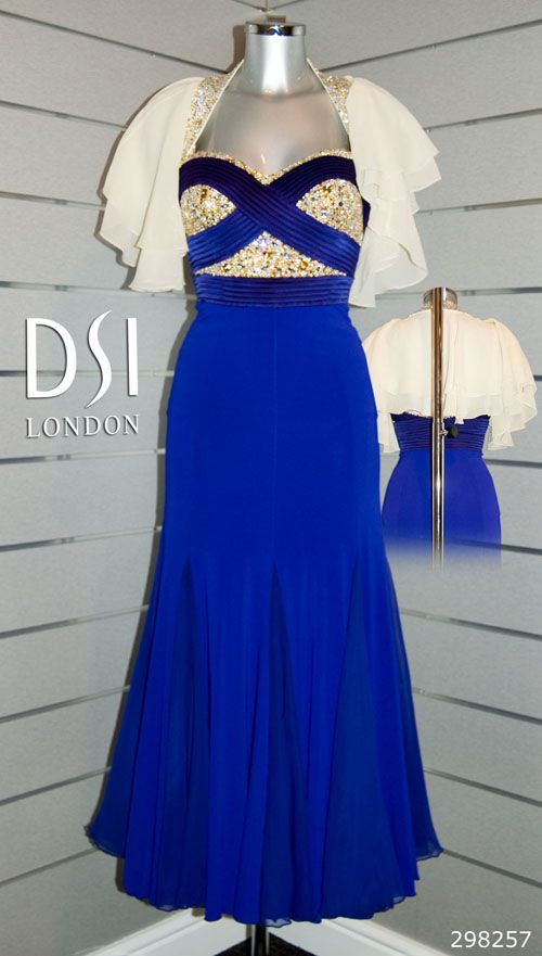 Anita Dobson sapphire ballroom dress