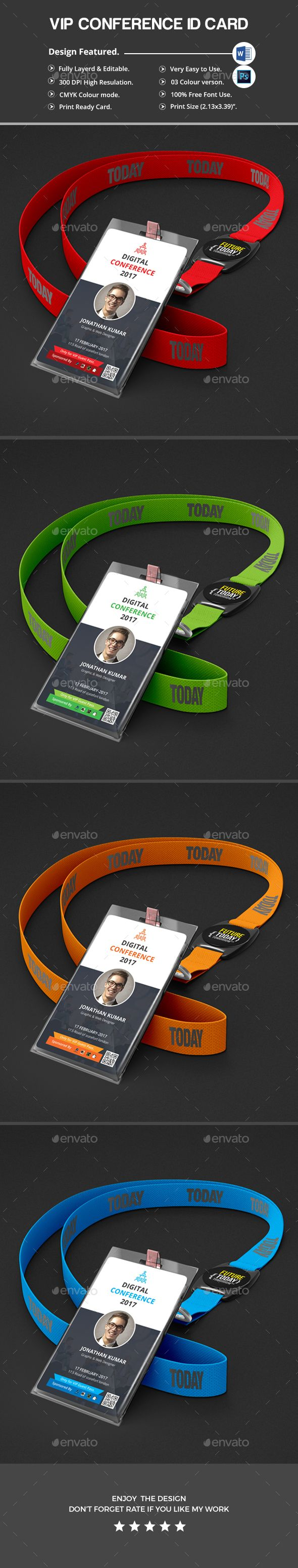 Conference VIP Pass #ID #Card - Miscellaneous Print #Templates Download here: https://graphicriver.net/item/conference-vip-pass-id-card/20177440?ref=alena994