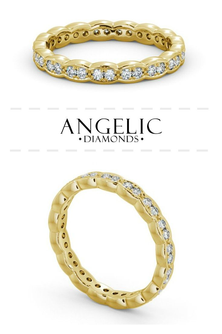 """Nothing says """"I'll love you forever"""" quite like this vintage eternity ring. Made with yellow gold and round shaped diamonds, this diamond eternity ring is simply stunning. Personalise yours today from #AngelicDiamonds. #Diamond #Diamonds #Jewellery #Jewelry #Ring #Rings #DiamondRing #DiamondJewellery #DiamondJewelry #EternityRing #Gold #GoldRing #GoldJewellery #GoldJewelry #ILoveYou"""
