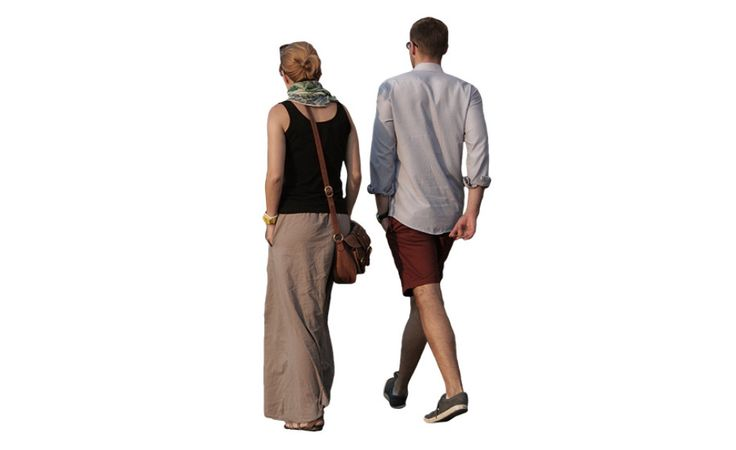 Walking couple | Free Cut Out people, trees and leaves