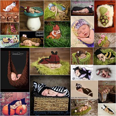 crochet patterns for newborn photo props! I will do the one with the cat :) (of course IF we have a baby)
