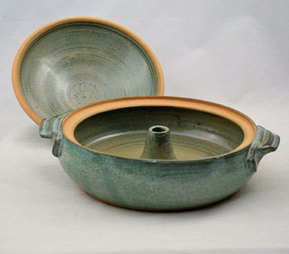 Aqua Green Vegetable or Rice Steamer by dkpottery