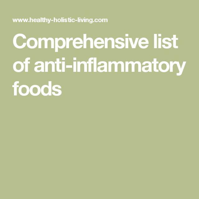 Comprehensive list of anti-inflammatory foods