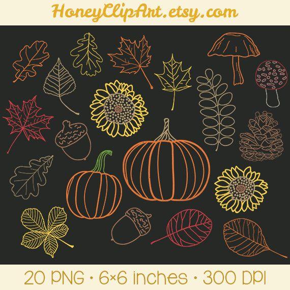 Fall Chalkboard Clip Art, Orange Leaves, Autumn Leaf Clipart, October, Chalk Pumpkin, Woodland Acorn, Mushroom, Forest Pine Cone, Sunflower