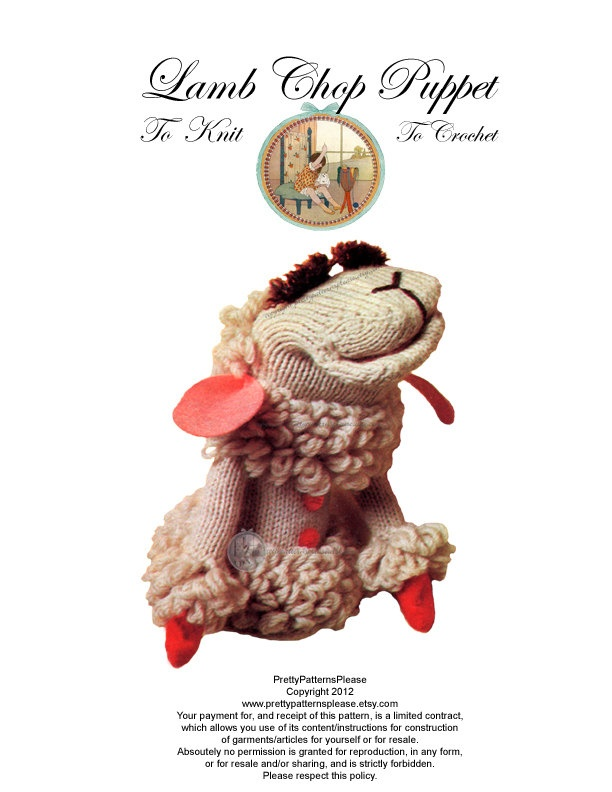 Lamb Chop Puppet Pattern to Knit or Crochet - From Vintage - PDF Email Delivery - PrettyPatternsPlease. $3.00, via Etsy.