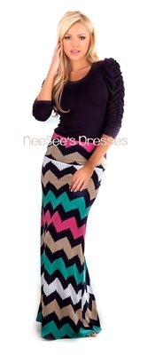 Navy and Mocha Chevron Design Maxi Skirt | Trendy Modest Clothing | Chevron Maxi Skirt