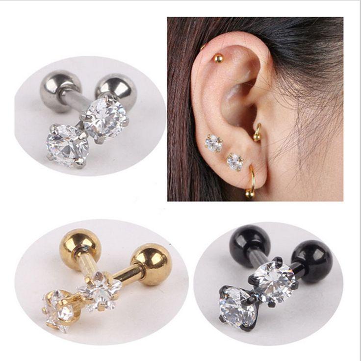 2 pezzo In Acciaio Inossidabile 316L Zircone Orecchino Helix Barbell Ear Piercing Cartilagine Trago Anello Gioielli Per Le Donne