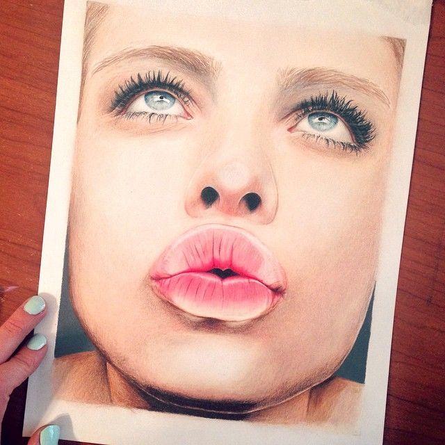 Desenho de lápis da cor do beijo por jennifer de boer