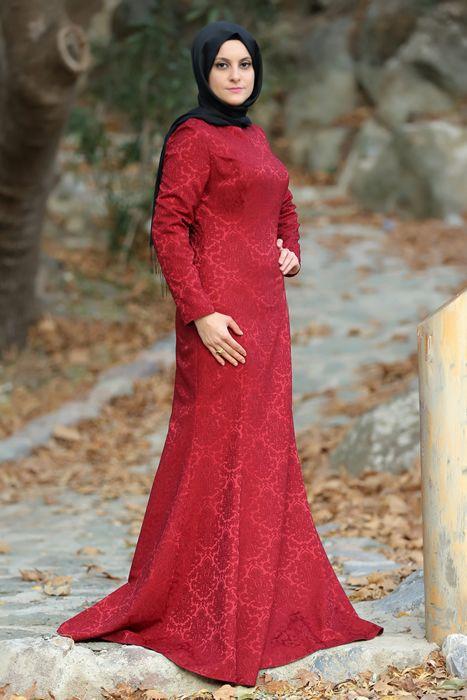 Esra Şua Bordo Balık Tesettür Abiye Elbise