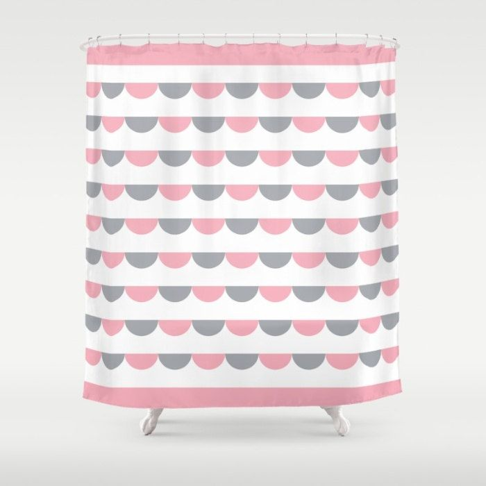6 colours, Nordic Funfair Shower Curtain, Modern Scandinavian style geometric bathroom shower curtains, Candy Pink bathroom decor by ThingsThatSing on Etsy