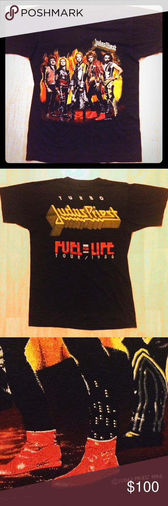 1986 Vintage concert Judas Priest concert t shirt This is an authentic 1986 Judas Priest vintage concert band tee shirt. I got this shirt from my dad who actually attended this concert. The shirt is super cool and feels incredible. It's thin and super soft, exactly what you would expect a 30 year old shirt to feel like. And the graphics are still in amazing condition as you can see in the pictures. It's a size small for men, but that's in vintage sizes, so it fits more like a women's large…