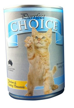 APB Purrfect Choice Chicken & Turkey 400gm (case of 12 cans) - iO's (independents Own) Australian made 'casserole' wet cat food with Chicken & Turkey and 100% ring pull cans @ everyday low price