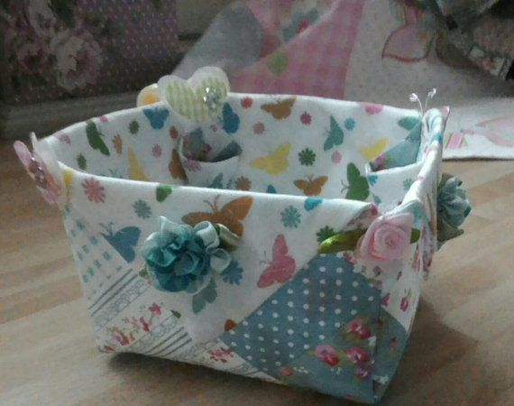 Handmade Basket Fabric Box Storage For Craft Patchwork Fabric Box Gift For Ladies Embellished Container Basket UK Etsyers Sewing Craft Box.