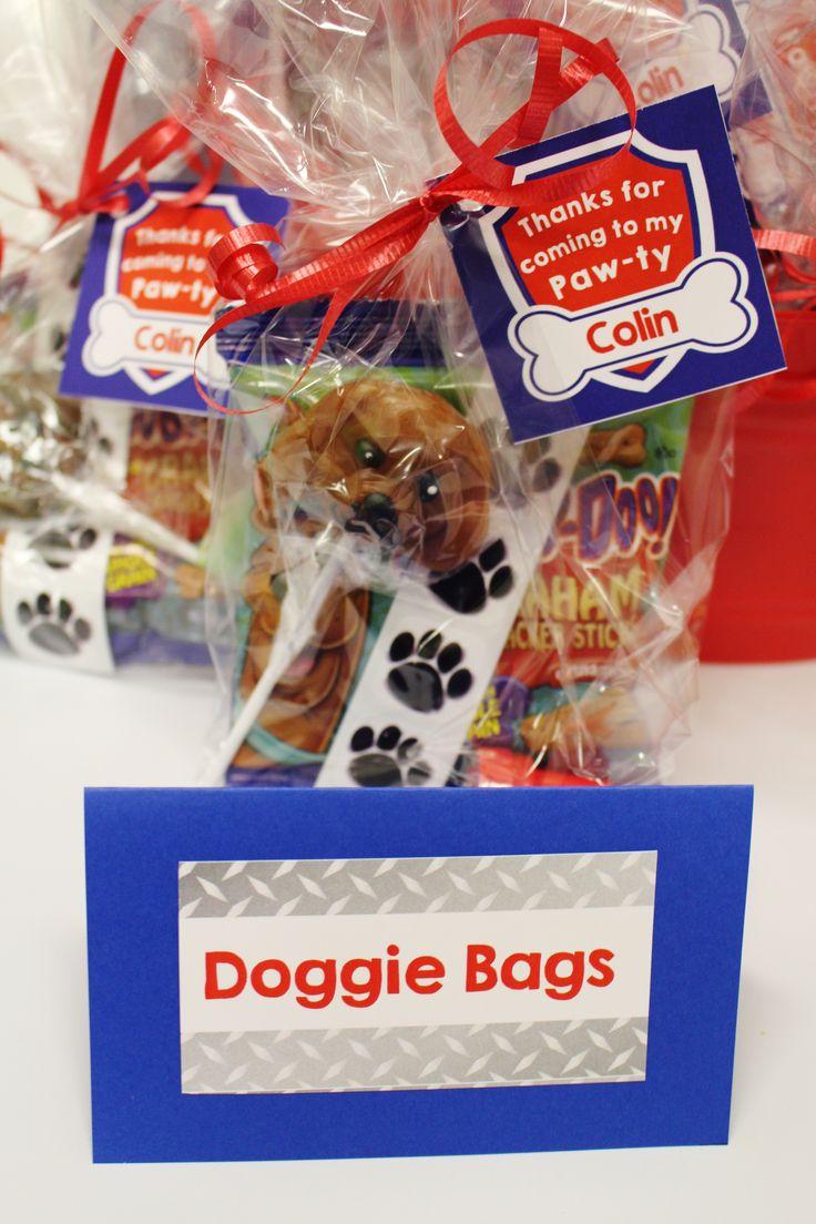 Doggie Bags party favors; dog party favor ideas; Paw Patrol party favor ideas
