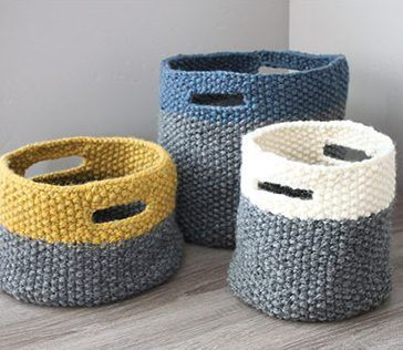 Knitting pattern for Triplet Baskets