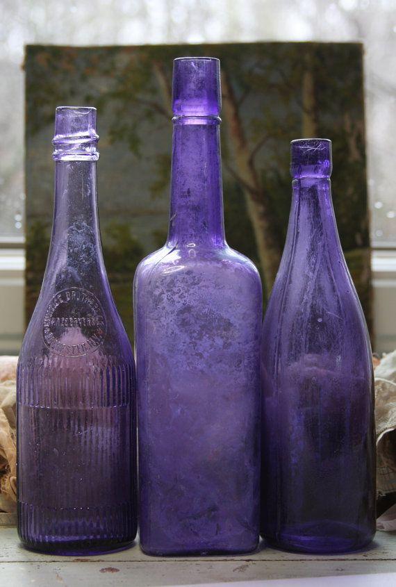 PURPLE BOTTLE Lot  Amethyst Antique Bottles by VintageSupplyCo