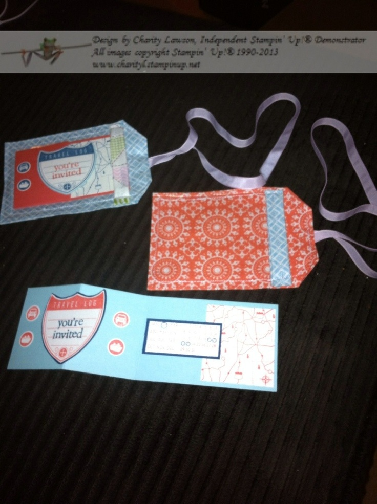Luggage Tag Invitations using Stampin' Up! Tea for Two fabric and Travel Log Stamp Set