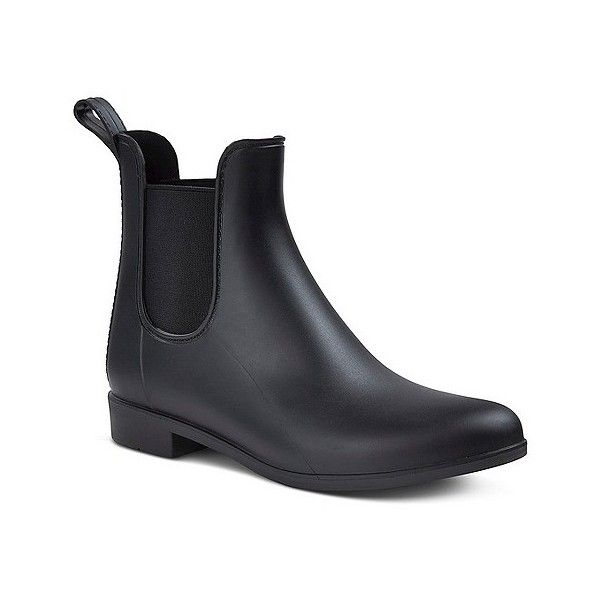 Women's Alex Chelsea Rain Boots Merona ($25) ❤ liked on Polyvore featuring shoes, boots, black, print rain boots, wellies boots, pull on boots, black boots and black slip-on shoes