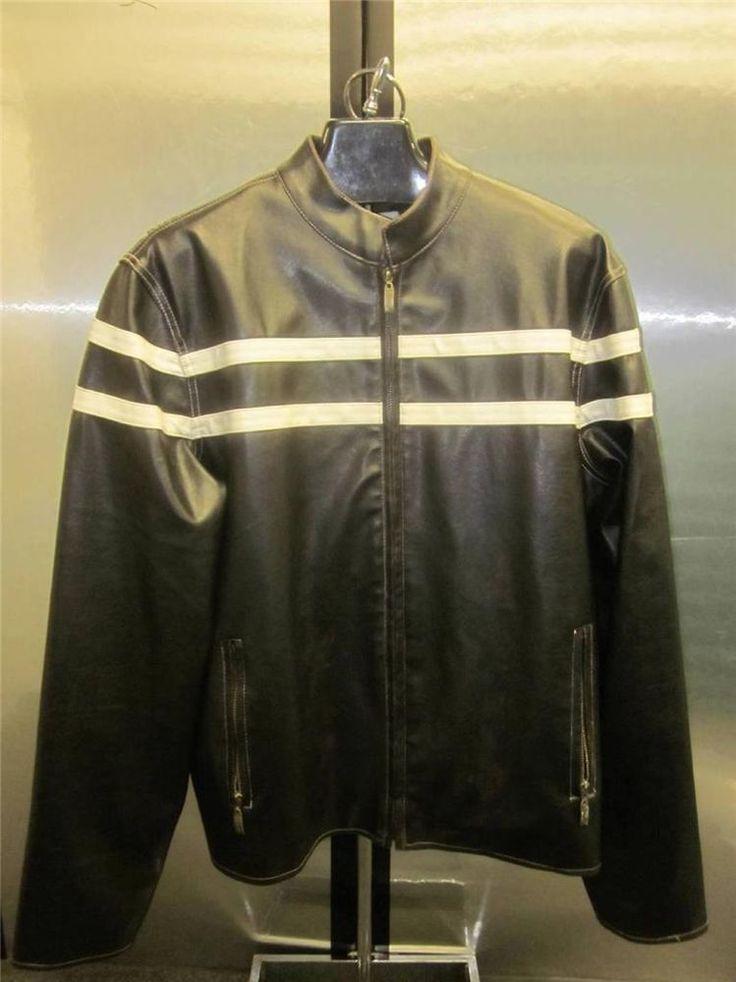 Toxic Hazard Mens LEATHER Motorcycle Coat JacketPre Owned