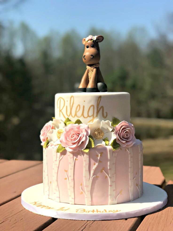 Moose Woodland Pink White And Gold Themed Fondant First Birthday
