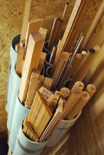 This PVC Pipe scrap storage couldn't be any easier. Corral your trim and dowels and be done with it.