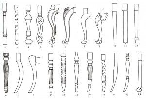 1 - Bobbin 2 - Baluster 3 - Twist 4 - Cup and cover 5 - Flemish scroll 6 - 'Square' 7 - Louis XV 8 - Plain cabriole 9 - Carved cabriole 10 - Taper 11 - Chippendale straight 12 - Hepplewhite 13 - Hepplewhite decorated 14 - Adam 15 & 16 - Sabre 17 - Pre-Victorian 18 - American fancy 19 - Windsor 20-23 - Victorian 24 - Modern Cabriole