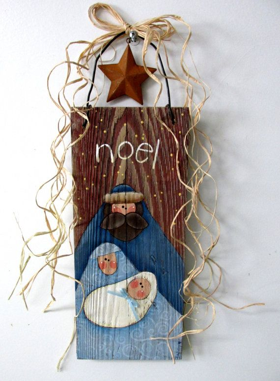 Nativity Hand Painted on Barn Wood, Folk Art Nativity, Rustic Nativity, Reclaimed Wood, Noel Sign, Christmas Sign, Mary, Joseph, and Baby