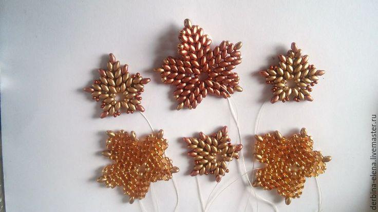 superduo maple leaf - step by step ~ Seed Bead Tutorials